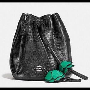Coach Black Leather Petal Wristlet